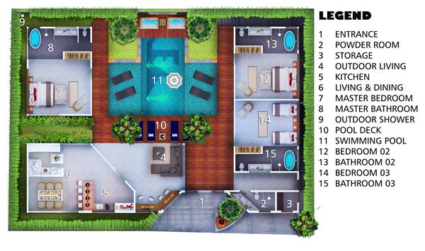 Villa Layout and Floorplanvilla marton canggu Canggu Villas – Swimming Pool Site Plan